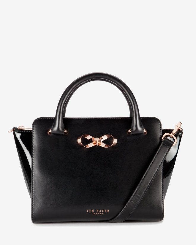 Loop bow leather tote bag - Black | Bags | Ted Baker ROW