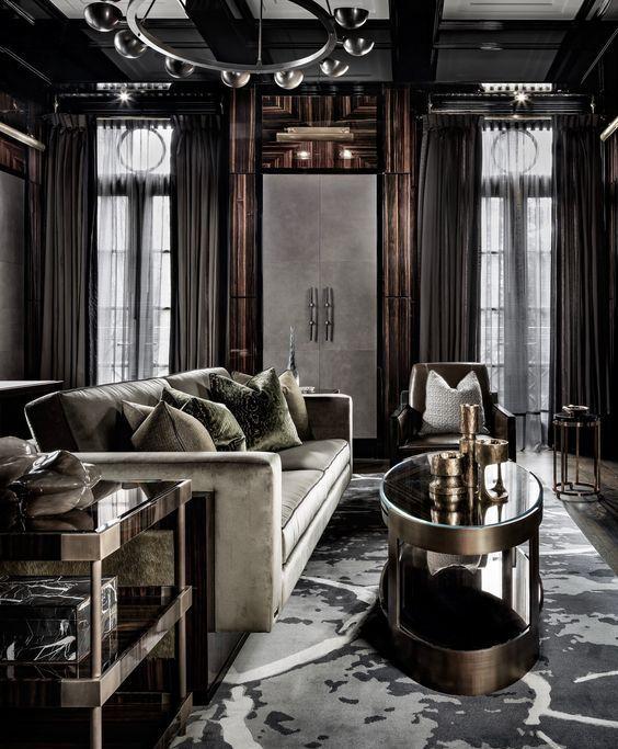 Best Elegant Modern Living Room With Rich Wood Decor 400 x 300