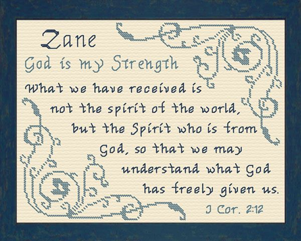 Zane name blessings personalized cross stitch design blessings cross stitch zane with a name meaning and a bible verse negle Images