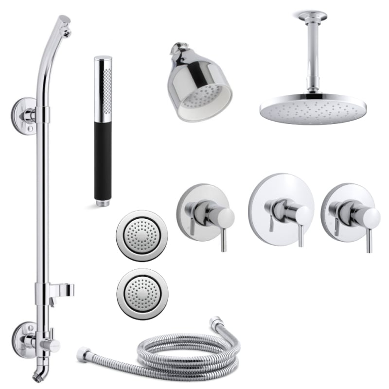 Shower Equipment Expressive Black Brass Handheld Shower Head Holder Support Rack With Hose Connector Wall Elbow Unit Spout Water Inlet Angle Valve Be Friendly In Use Shower Heads