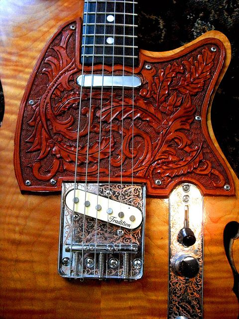 hand made tele inspired guitar with tooled leather pickguard leather tooled leather guitar. Black Bedroom Furniture Sets. Home Design Ideas