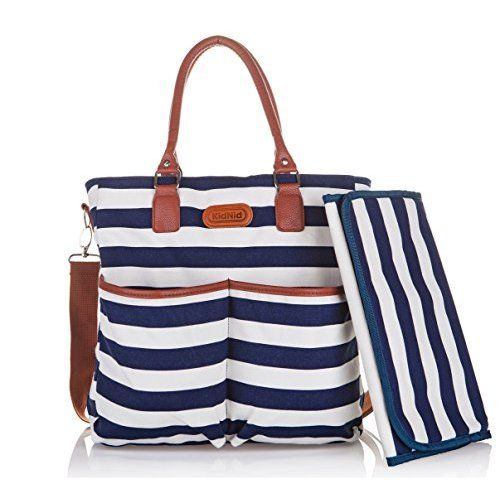 16989af1cf5e4 Diaper Bag by Hip Cub - Baby Changing Pad - Black /White Stripe W/ Cute Tan  Trim