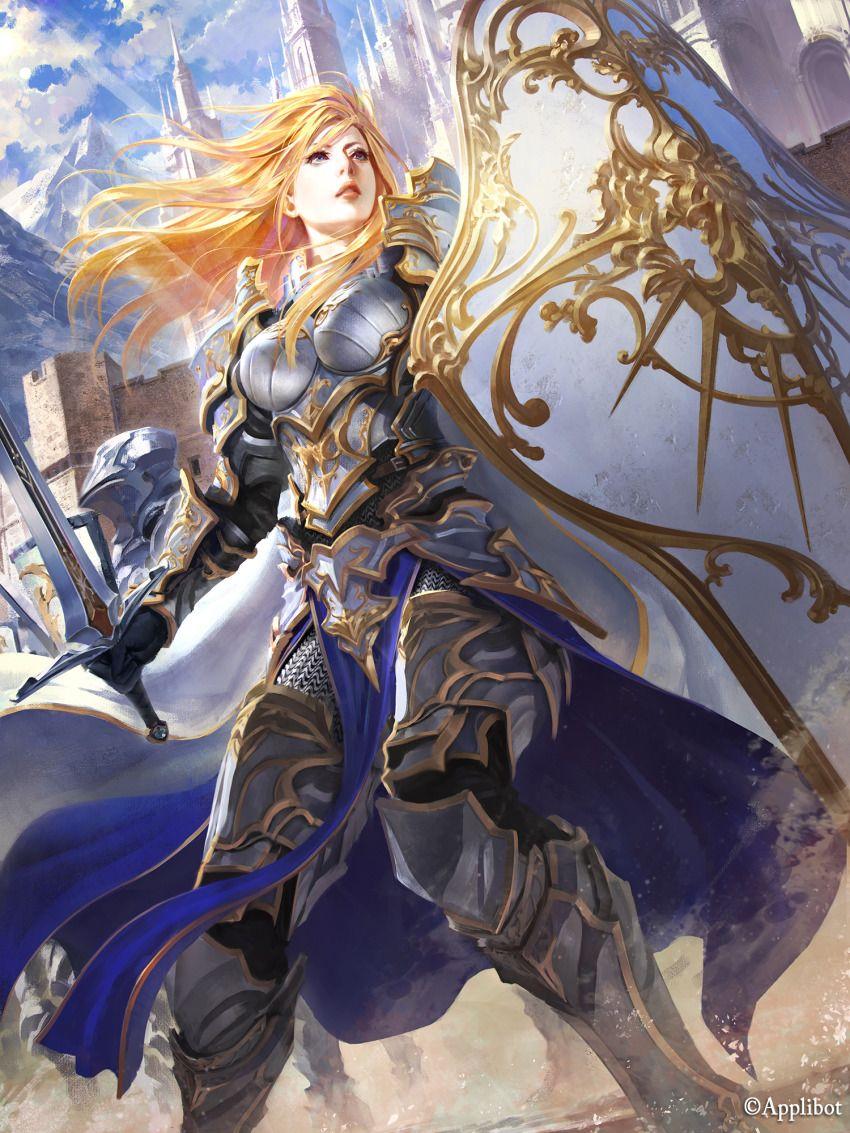 1girl armor black_gloves blonde_hair blue_eyes breasts