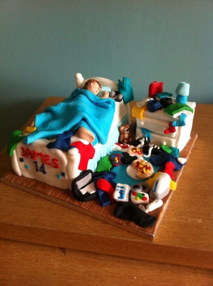 Messy Teenagers Bedroom Cake Teenage Boy Birthday Cakes For Teens 18th