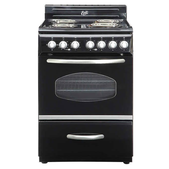 Epic Retro 24 In Electric Coil Range With With Porcelain Cooktop