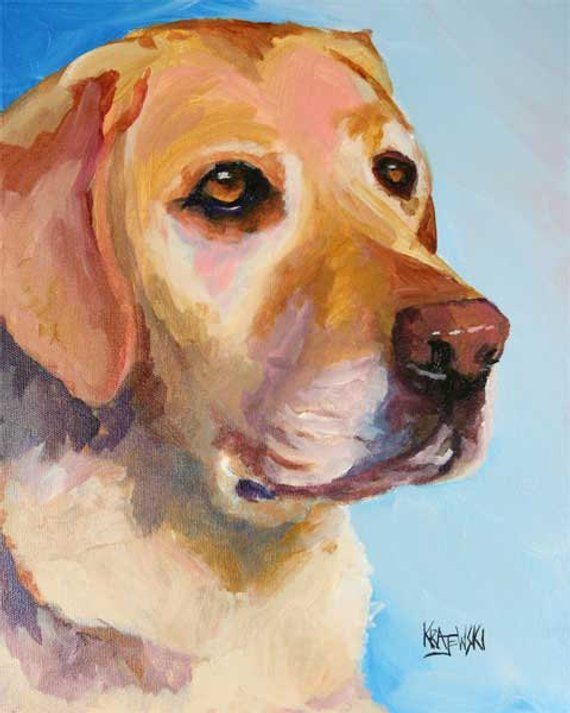cffae64a Labrador Retriever Art Print of Original Acrylic Painting - 11x14 Yellow Lab