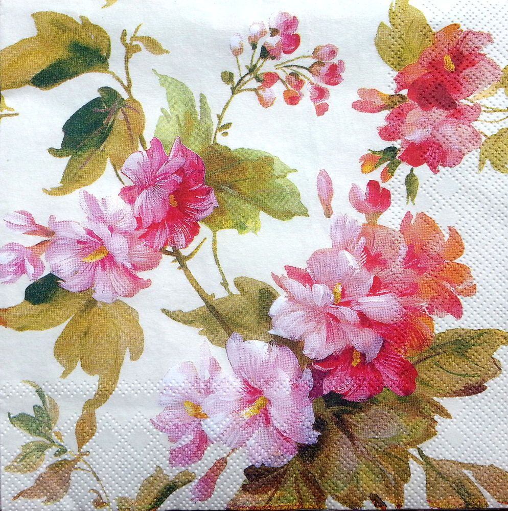 4 Single Lunch Paper Napkins for Decoupage Party Table Craft Vintage Flowers B//1