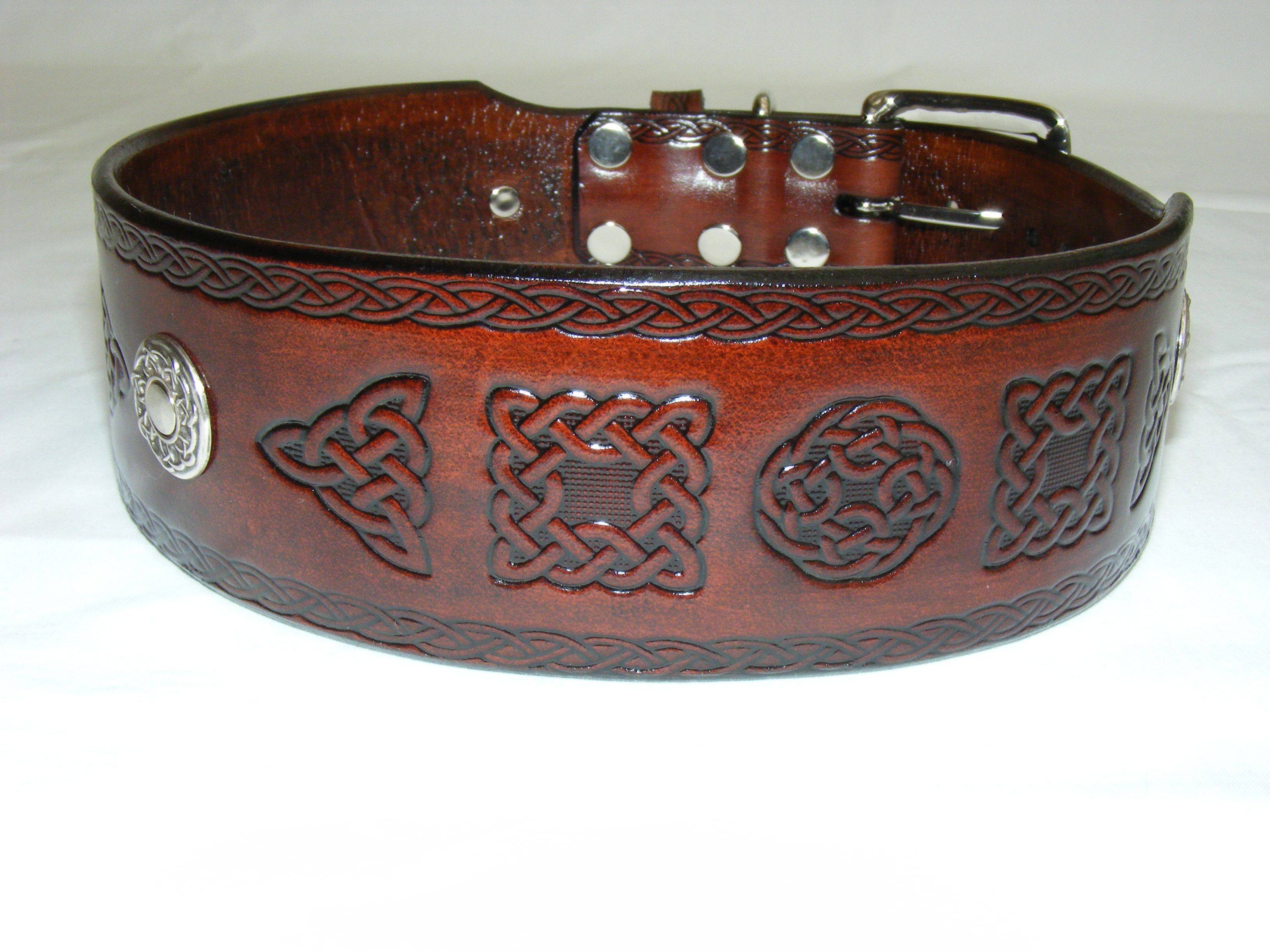 Handmade Leather Celtic Dog Collar Many Designs Available