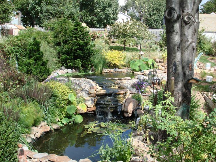 Garten Am Hang Gestalten Teich Bauen Wasserfall Pflanzen Graeser