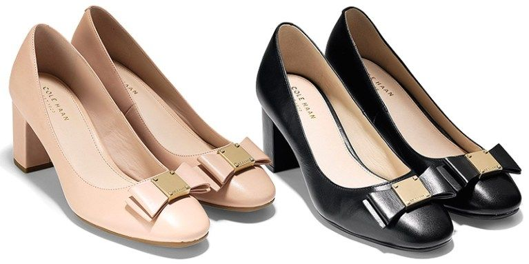 a41035e3f3b Cole Haan Tali Bow Block Heel Pumps in nude and black (Salvatore Ferragamo  Vara inspired)