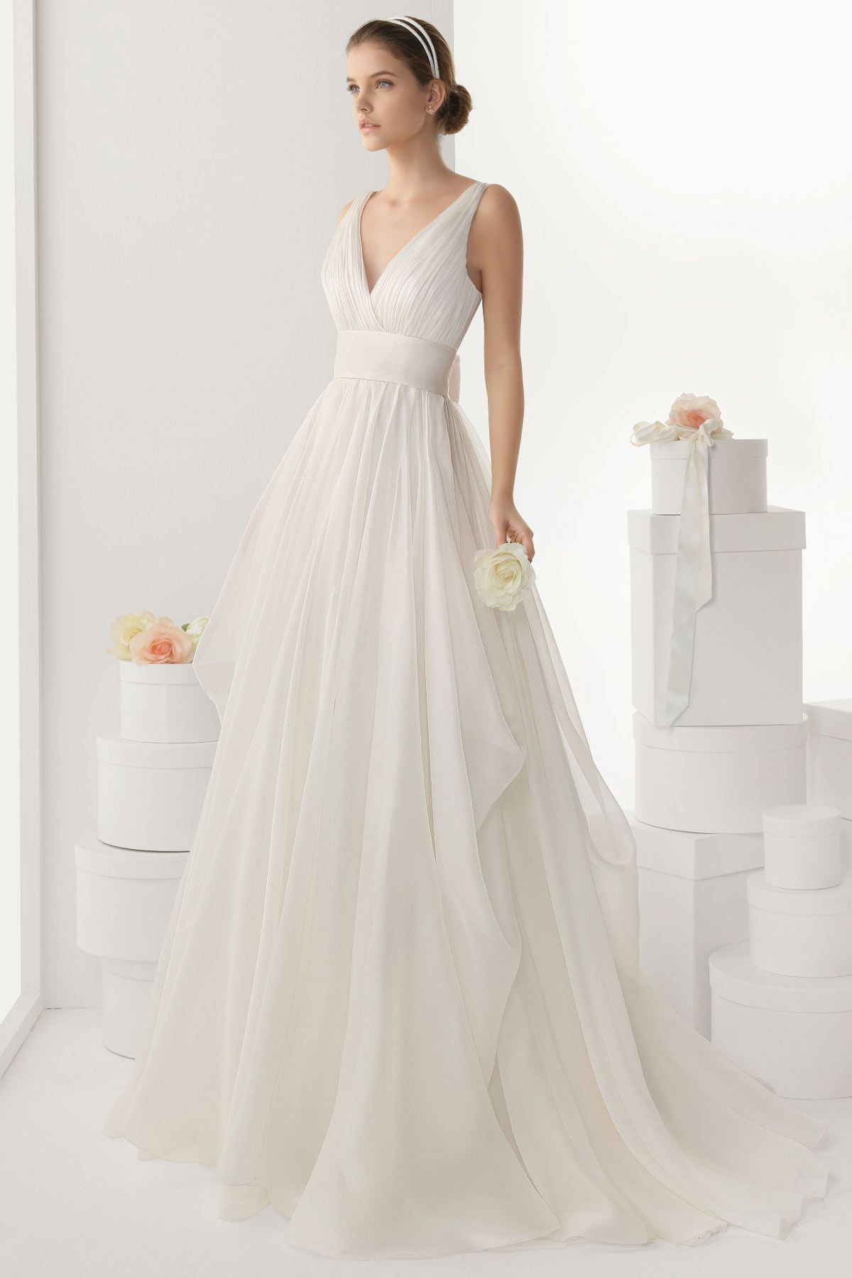 Simple and cheap wedding dresses  Sexy V neck Backless Bowknot Chiffon Wedding Dress Cheap WBDF