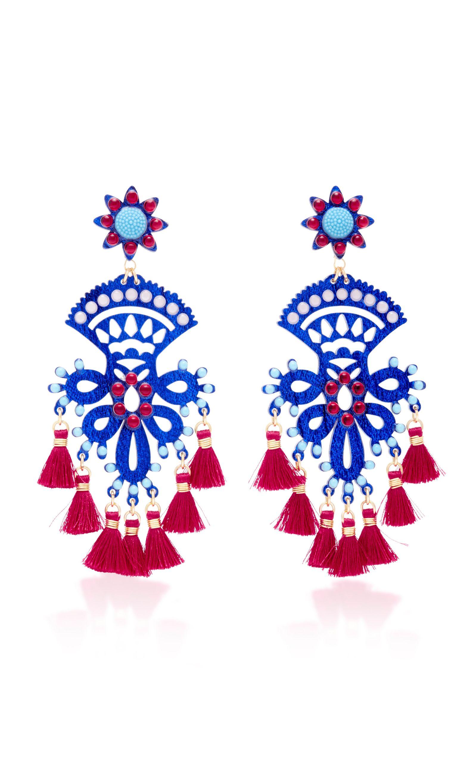 Fiesta Blue And Red Drop Tassel Earrings by MERCEDES SALAZAR Now Available on Moda Operandi