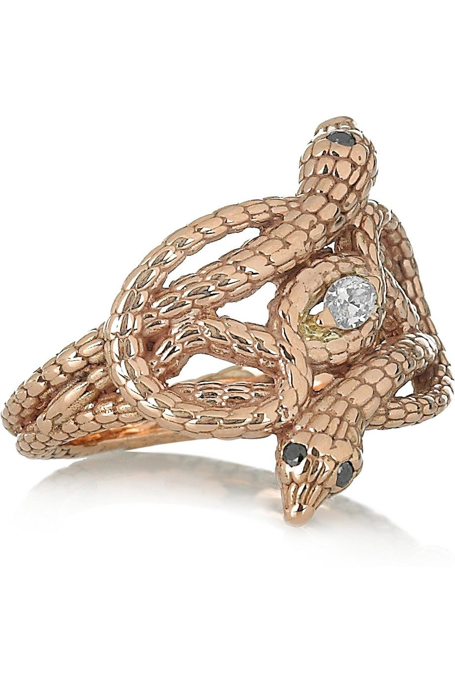 Ileana makri snake nest karat rose gold diamond ring neta