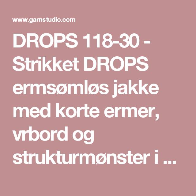 """DROPS 118-30 - Strikket DROPS ermsømløs jakke med korte ermer, vrbord og strukturmønster i """"Alpaca"""" og """"Kid-Silk"""". Str S - XXXL. - Free pattern by DROPS Design"""