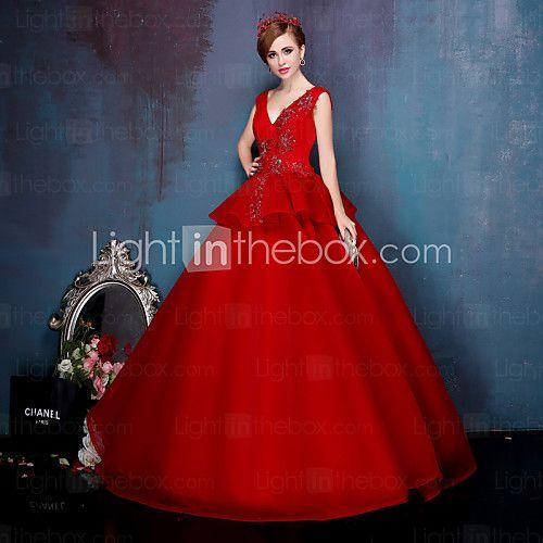 Princess Wedding Dress-Ruby Floor-length V-neck Stretch Satin - USD $229.99