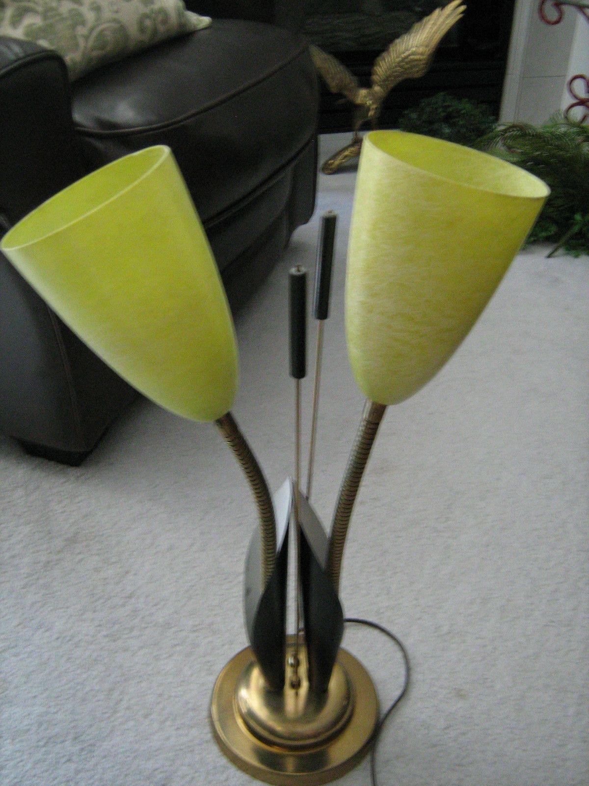 Vintage Retro Mid Century Double Gooseneck Table Lamp Fibreglass