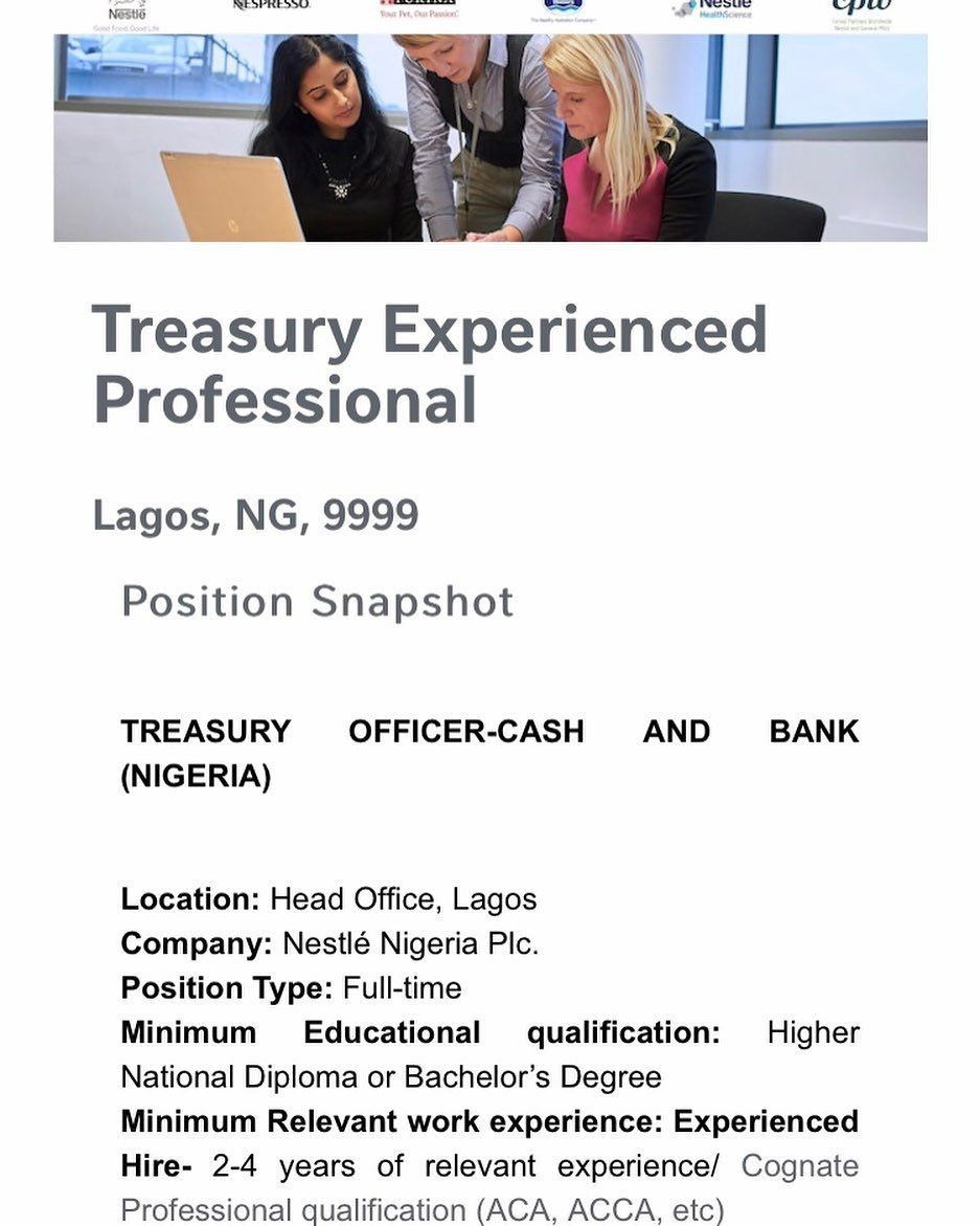 Nestle Nigeria Plc Recruitment For Treasury Officer Cash And Bank