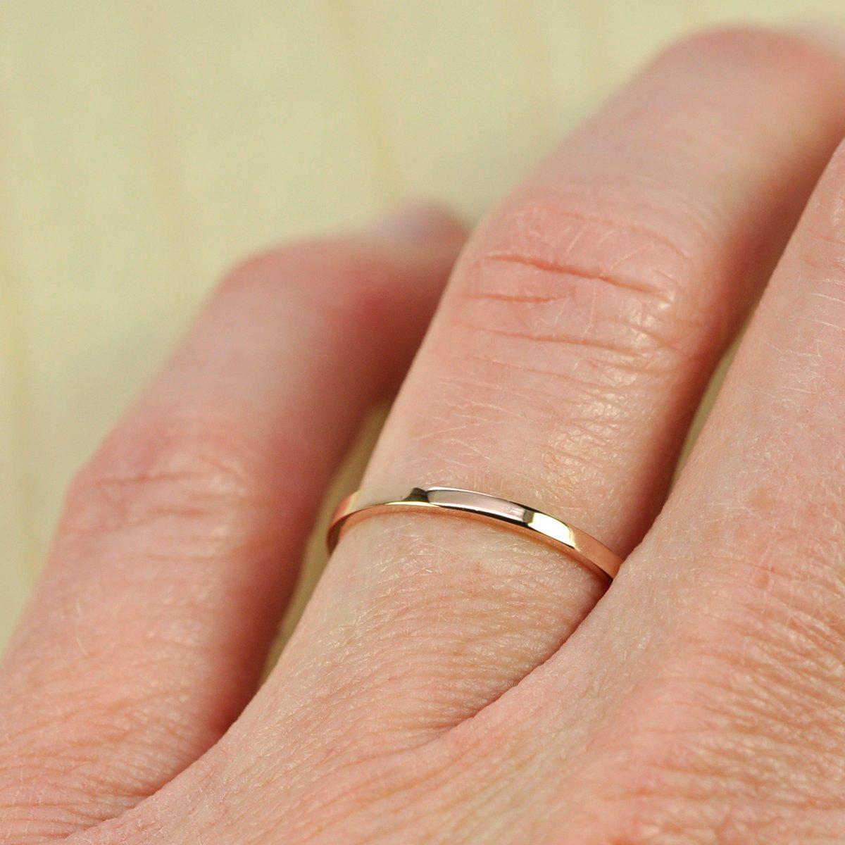 Women's Rose Gold Wedding Band, Skinny Stacking Ring 1.5mm