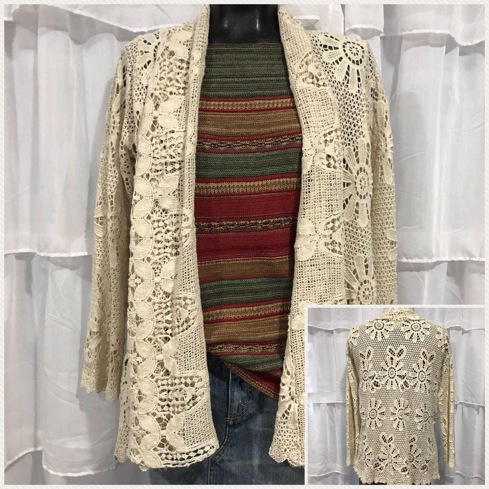 Medium Johnny Was Retro Floral Crochet Cardigan Jacket Ebay Floral Crochet Fashion Cardigan Jacket