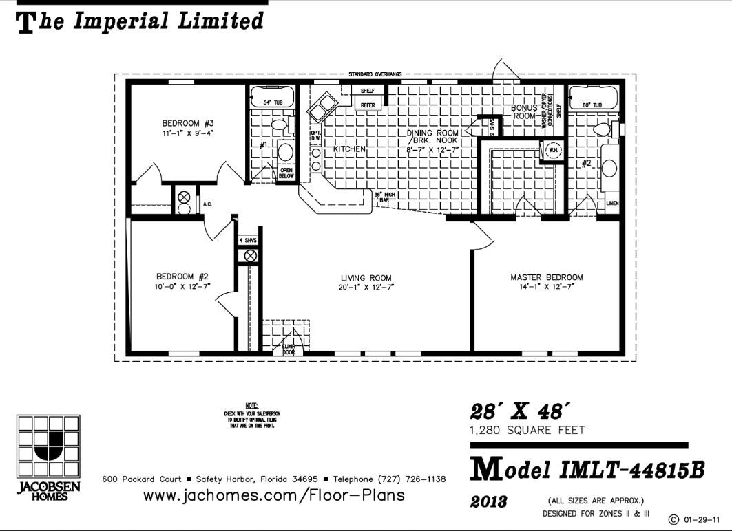 Jacobsen Imlt 44815b 28 X 48 1280 Sq Ft A Small House With A Big Kitchen Look At That Huge Master Closet Floor Plans New House Plans House Plans