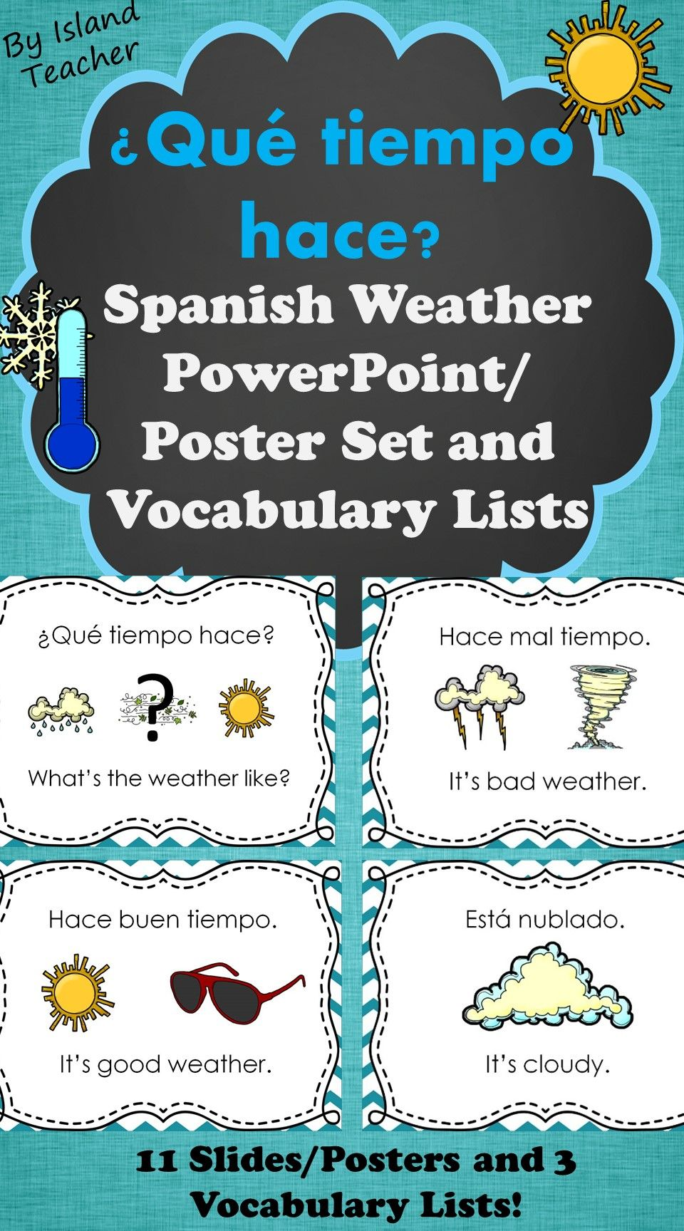 spanish weather powerpoint lesson word wall and vocabulary lists
