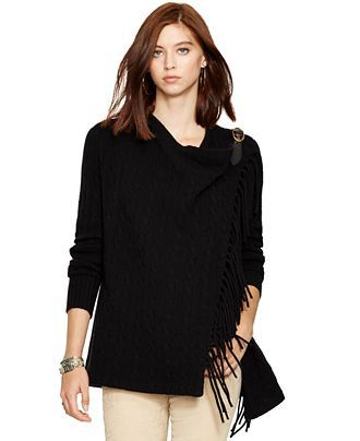 Polo Ralph Lauren Fringe Wool-Cashmere Wrap - Polo Ralph Lauren - Women - Macy's