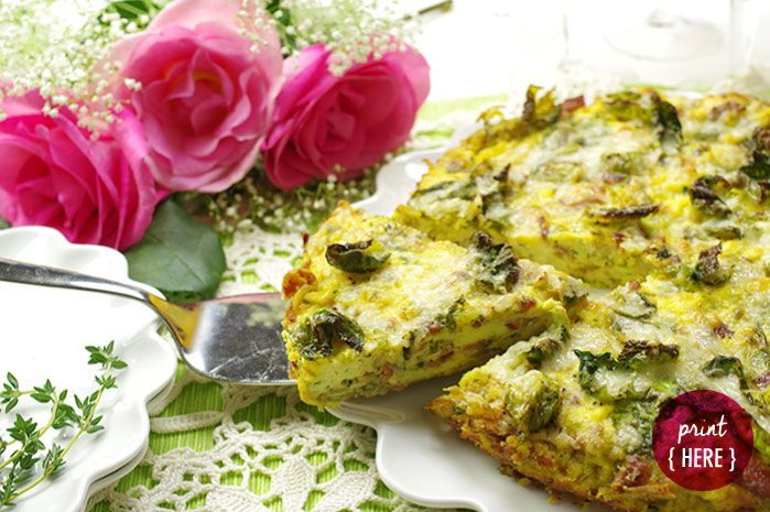 Brussels Sprouts and Bacon Frittata.  #WhiskCarolina #baconfrittata