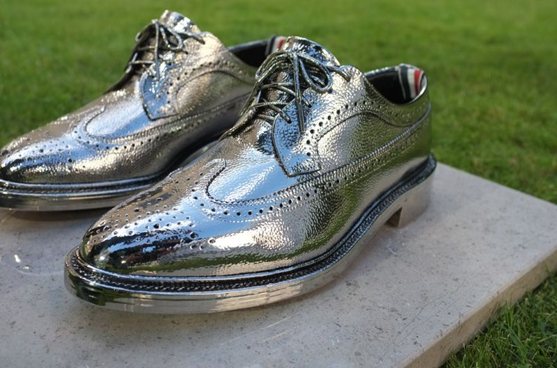 cf0be1094105 Thom Browne Creates Real Silver Long Wingtip Brogues