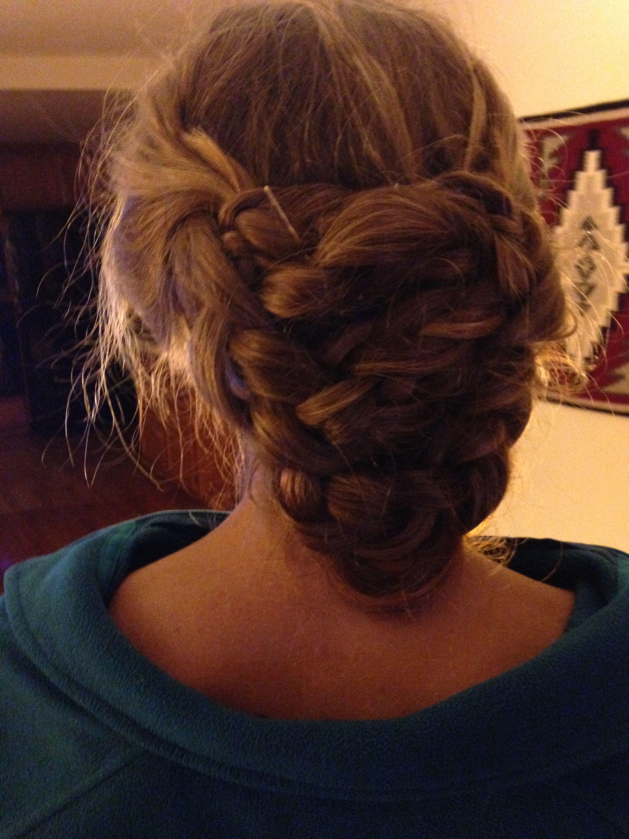 double dutch braids curled into bun. super simple, super