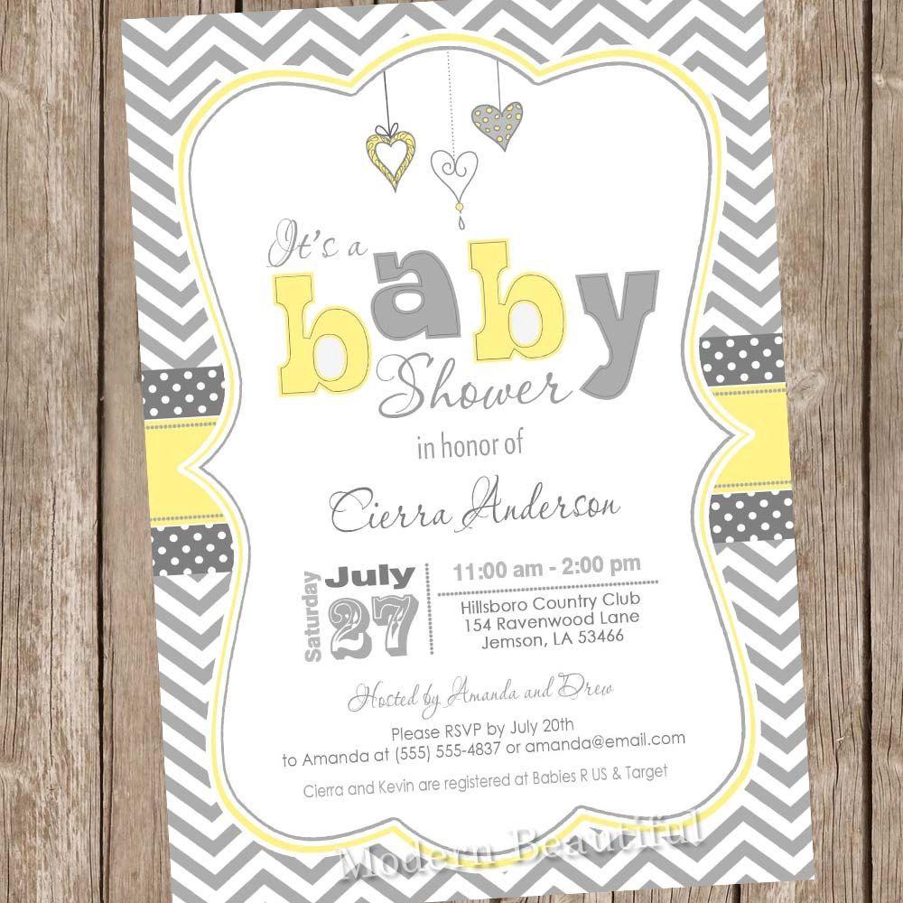 Neutral Yellow and Grey baby shower invitation, chevron