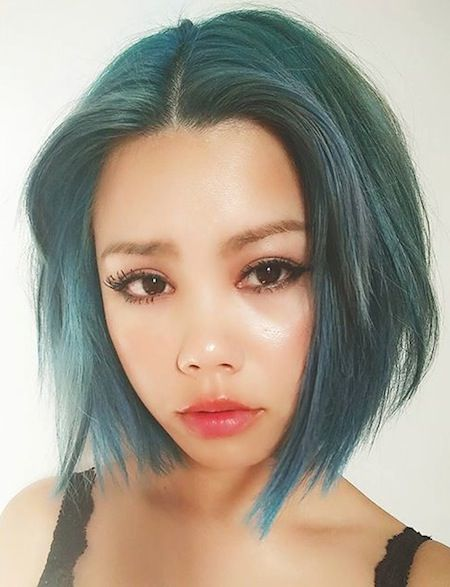 short green bob lazybum pastel green short hair with