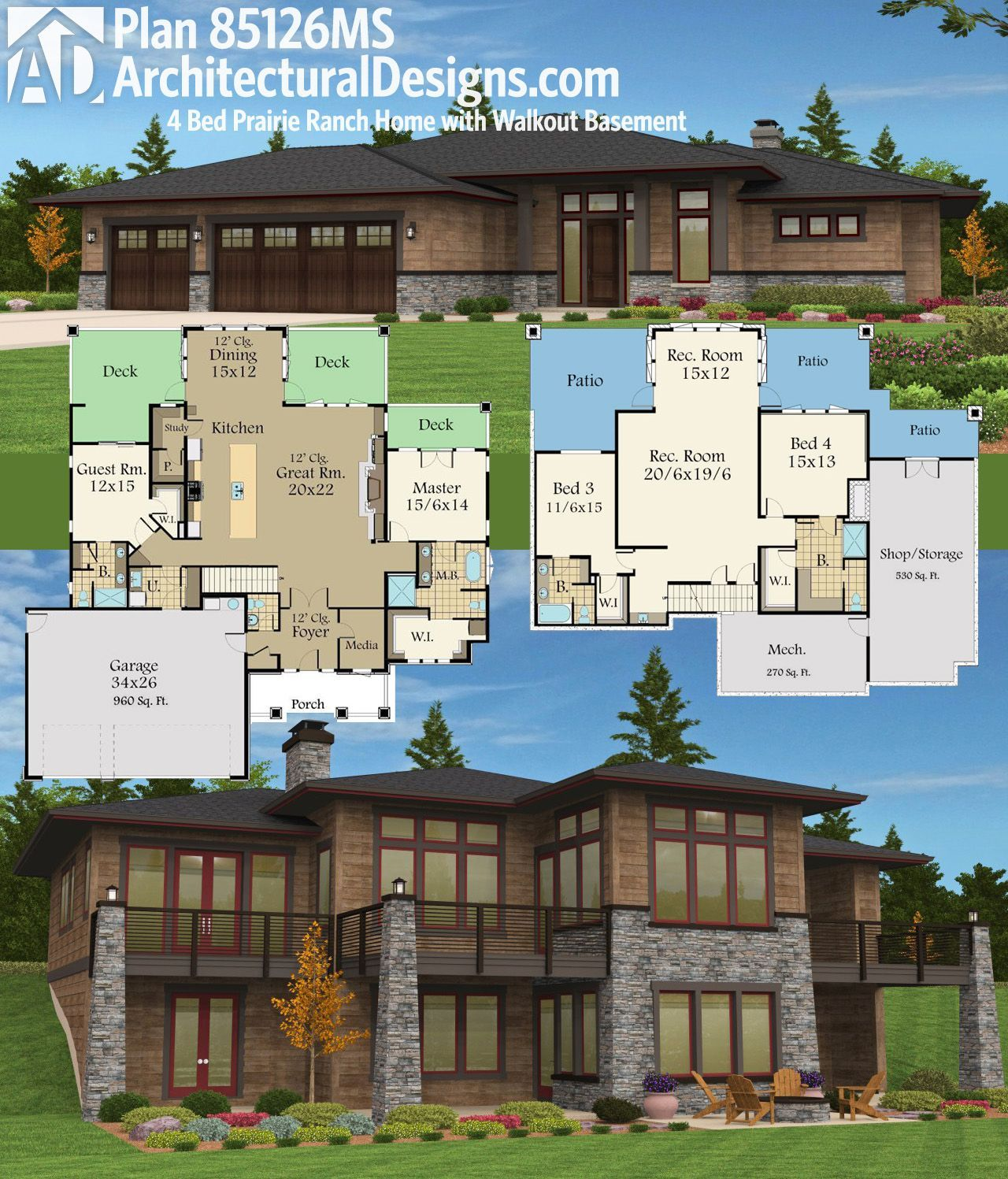 Architectural Designs Prairie Ranch Home Plan 85126ms Gives You 2 Beds On Main 2 Below And Over 4 00 Rancher House Plans Basement House Plans Lake House Plans