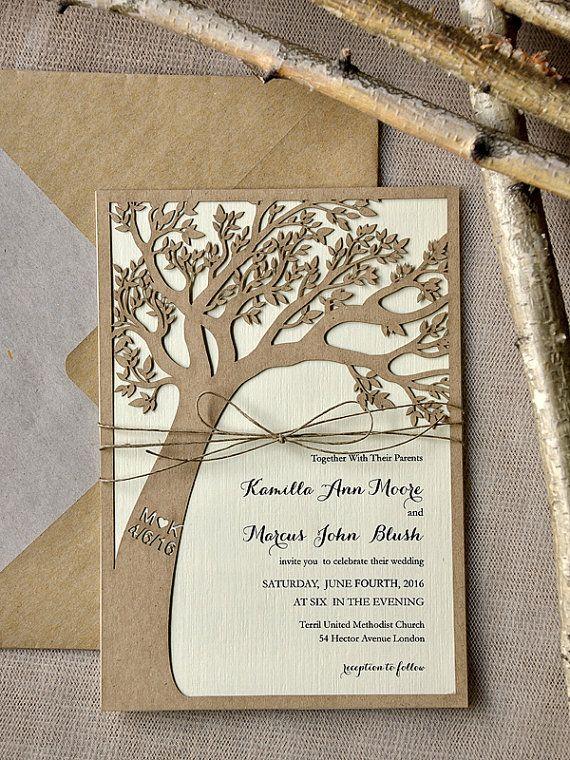 Benutzerdefinierte Liste (20) Rustikal Hochzeitseinladung, Laser Cut Baum  Einladung Eco Chic Hochzeitseinladungen,
