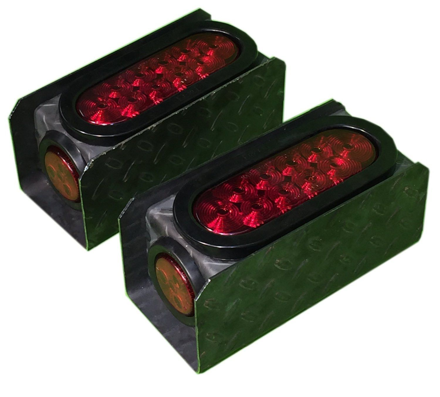"2 Steel Tread Plate Trailer Light Boxes w/6"" LED Oval Tail Lights & 2"" LED  Red Round Side Lights"