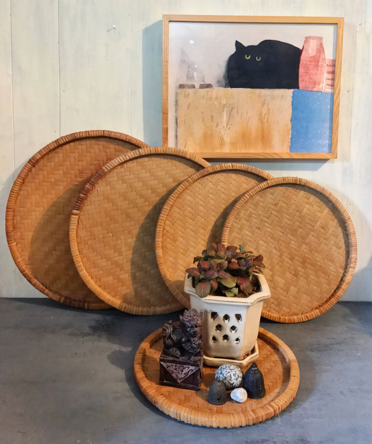Wall Baskets Decor round bamboo trays - wicker serving trays - flat wall baskets