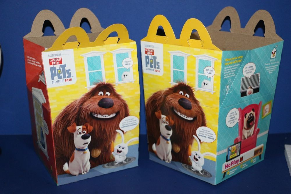 Mcdonald S Happy Meal Box The Secret Life Of Pets Movie 2016 Set Of 2 Happy Meal Box Pets Movie Happy Meal Mcdonalds