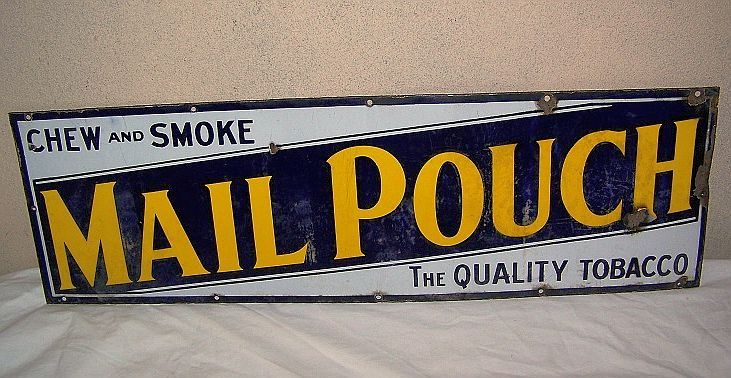 Retro Tabak Keukens : Mail pouch tobacco antique porcelain sign chew & smoke the quality