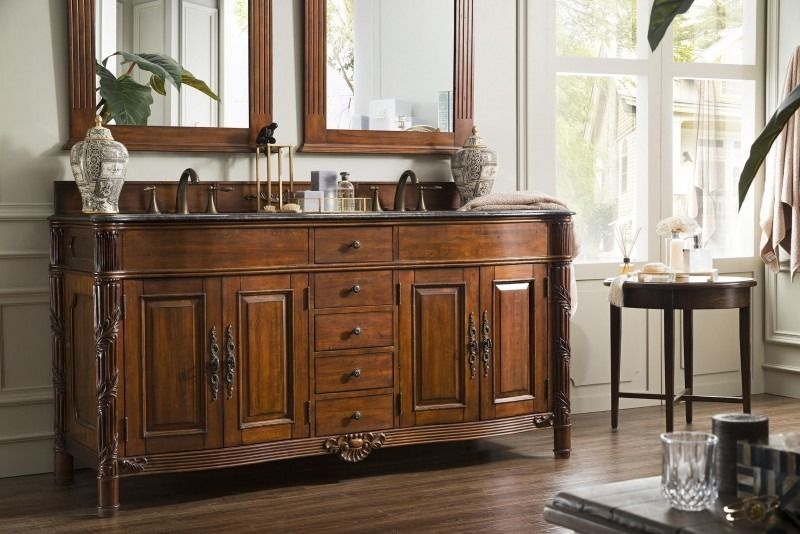 Florentine 72 Double Sink Bathroom Vanity Cabinet Cherry Finish Matching Mirrors Old World Style James Mart Wood Vanity Bathroom Vanity Bathroom Decor