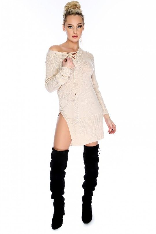 Sexy Beige V-Cut High Polish Accent Lace Up Long Sleeve High Side Slit Knit  Sweater Dress 5676af2f5