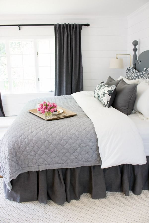 Love The Ruffled Bedskirt Used In This Master Bedroom Makeover Master Bedroom Makeover Gray Master Bedroom Home Decor Bedroom
