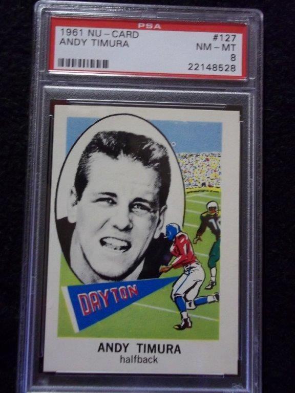 0ee35fa9d79 1961 Nu-Card Andy Timura PSA Graded NM-MT 8 Football Card #127 #Dayton