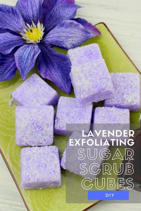 Sugar Scrub Recipe - Lavender Exfoliating Sugar Scrub Cubes #sugarscrubrecipe