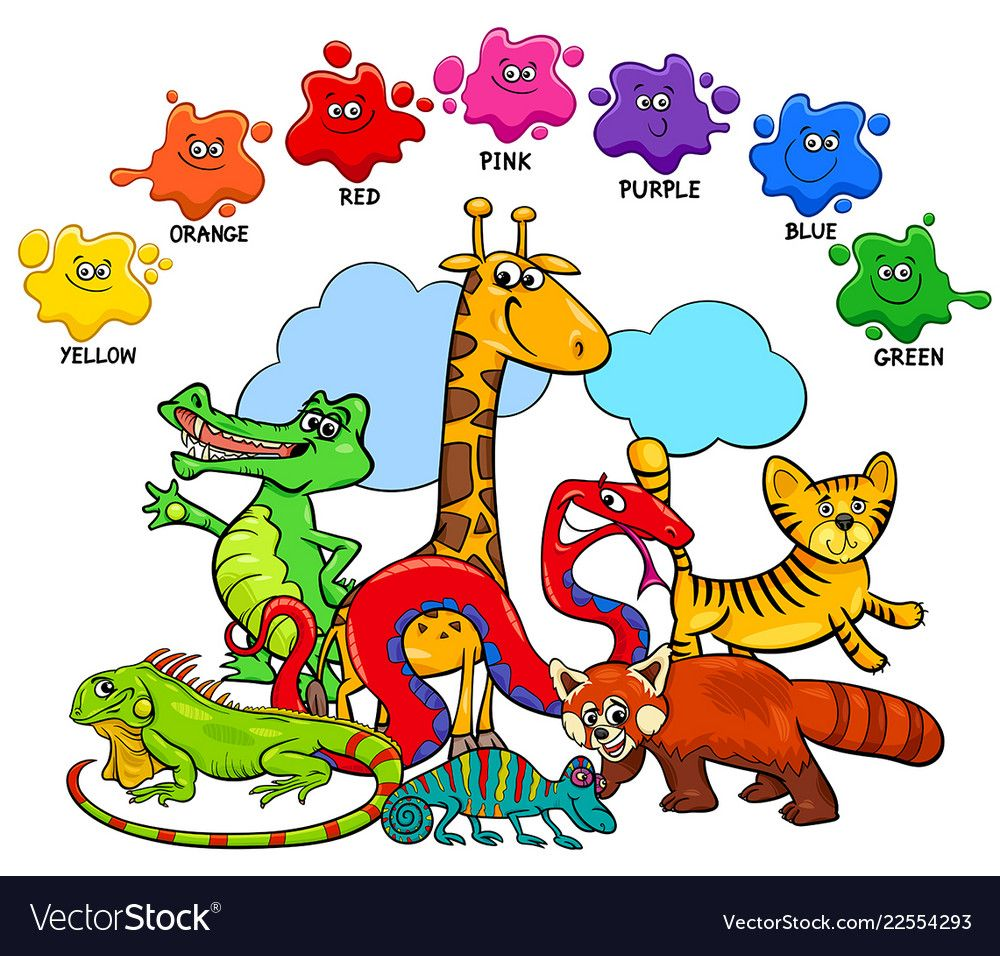 Cartoon Illustration Of Basic Colors Educational Page For Children With Wild Animal Coloring Pages For Kids Free Printable Coloring Sheets Cartoon Illustration