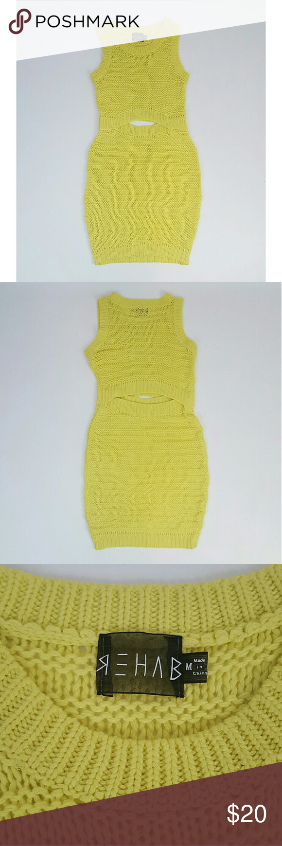 "Lime neon green knit sweater dress Midriff cutout REHAB lime green knit dress with Midriff cutout in front + back.  Excellent condition, no flaws.  Fits true to size Medium, too big on me (size 4, 5'4"" tall).  It hits at knee length on me, will also work for a taller girl.  Stretchy loose knit sweater fabric.  Bust 32-44"" around  Waist 26-32"" around  Hip 36-46"" around  Length 40"" Rehab Dresses Mini"
