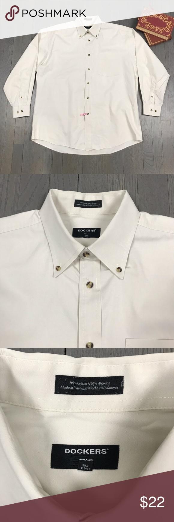 Dockers Tour Creme Long Sleeve Button Down Shirt Long Sleeve Shirt Dress Mens Shirt Dress Tan Dress Shirt [ 1740 x 580 Pixel ]