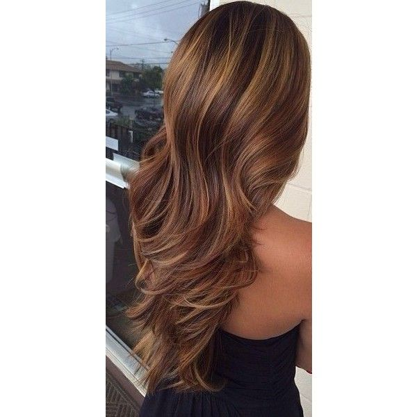 Caramel Lowlights Highlights For Brunettes Dark Brown Hairs Found On Polyvore Brunette Hair With Highlights Highlights For Dark Brown Hair Hair Styles