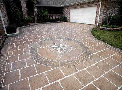 find this pin and more on outside living decorative design ideas compass rose on painted concrete driveway