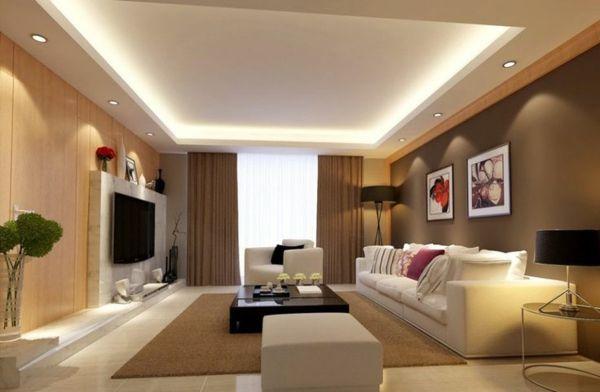 wohnzimmer beleuchtungsideen versteckte beleuchtung einbauleuchten,