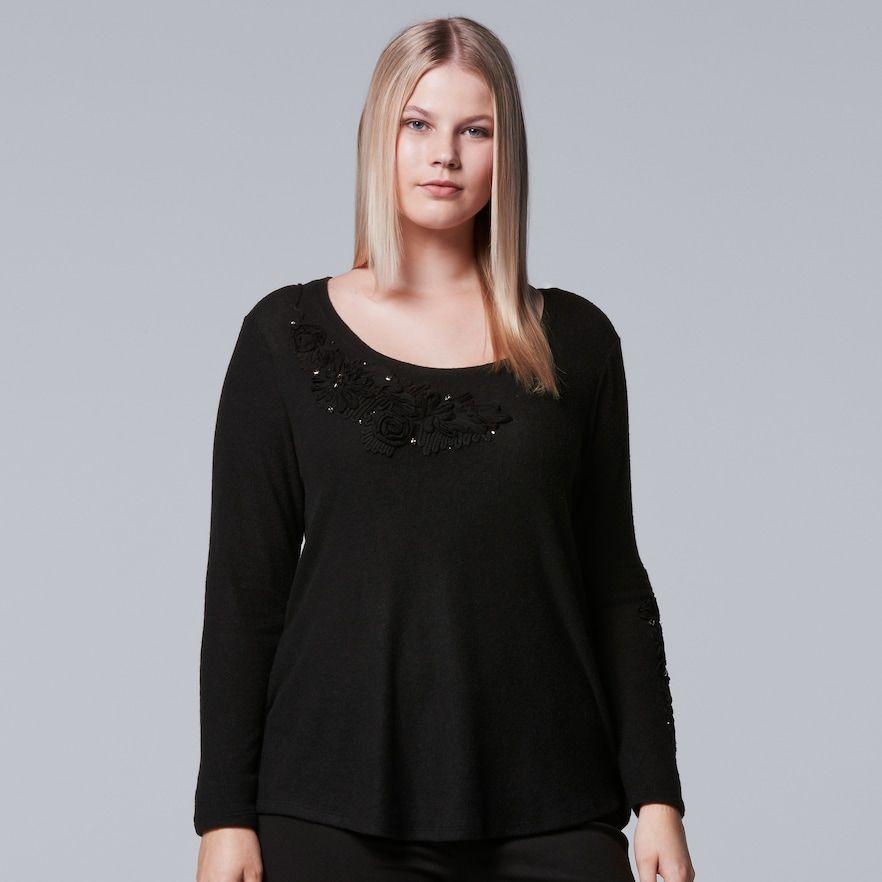 Plus Size Simply Vera Vera Wang Floral Tee, Black