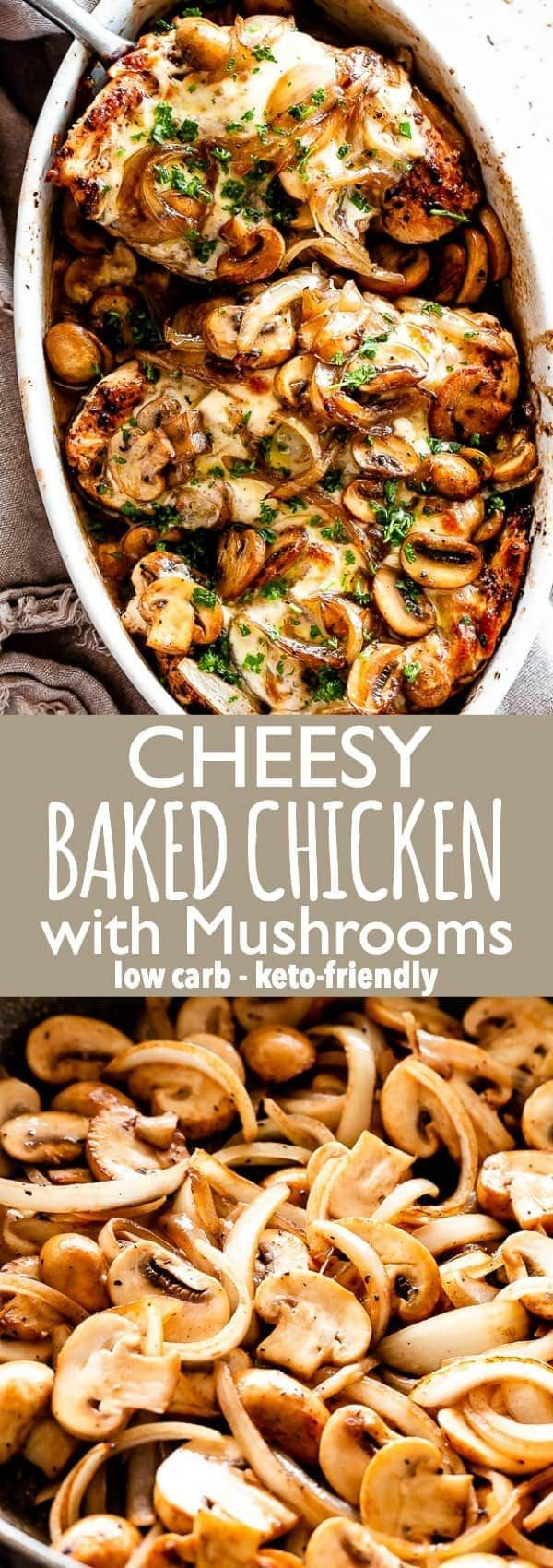 Cheesy Baked Chicken with Mushrooms – An easy recipe for baked chicken breasts c… – recipes for dinner